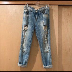 Zara distressed boyfriend jeans